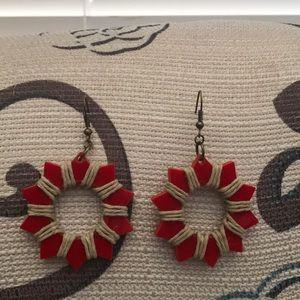 Red star shaped earrings